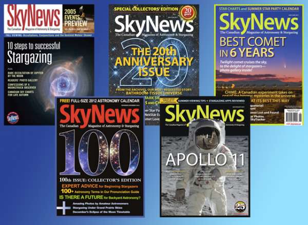 Vintage editions of SkyNews magazine, Canada's home for space and astronomy news, are available for purchase in the shop. | SkyNews